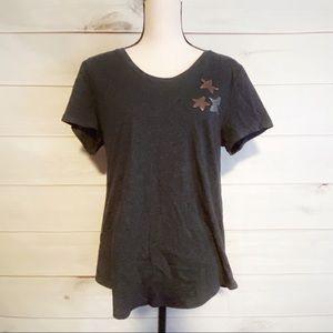 NWT Loft Gray T-Shirt w/Reversible Star Sequins